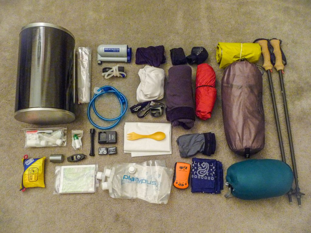 Packing list for the John Muir Trail