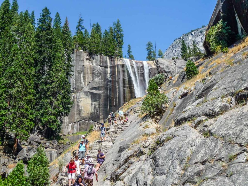 Lots of people enjoying Vernal Fall