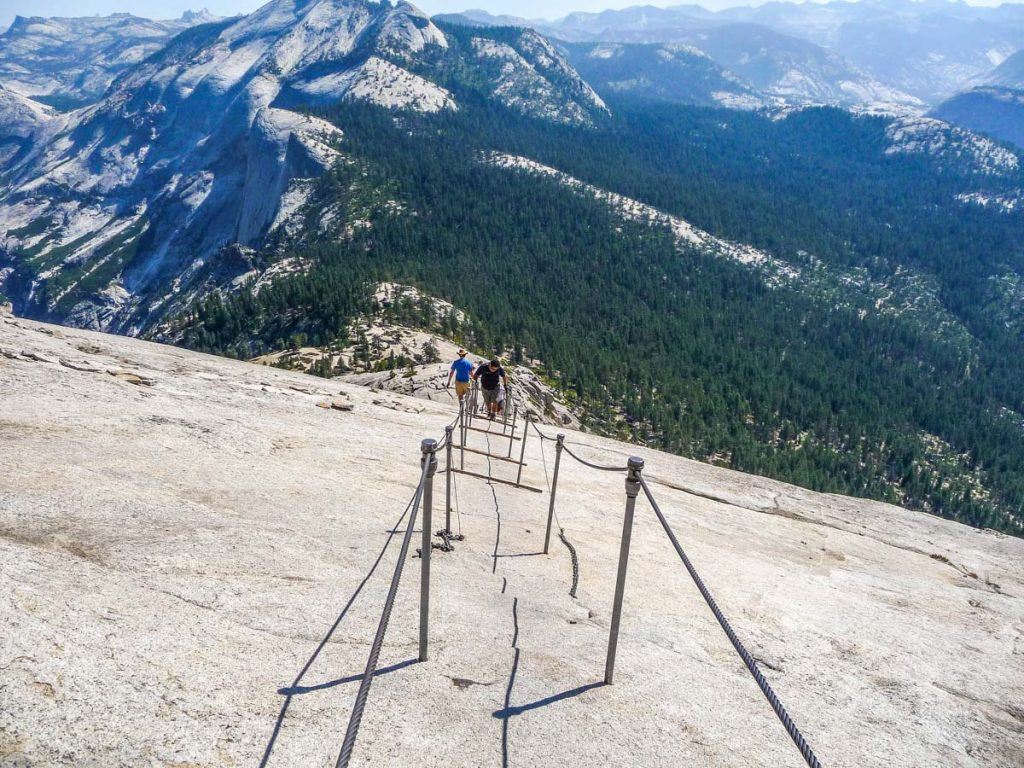 Going down Half Dome cables