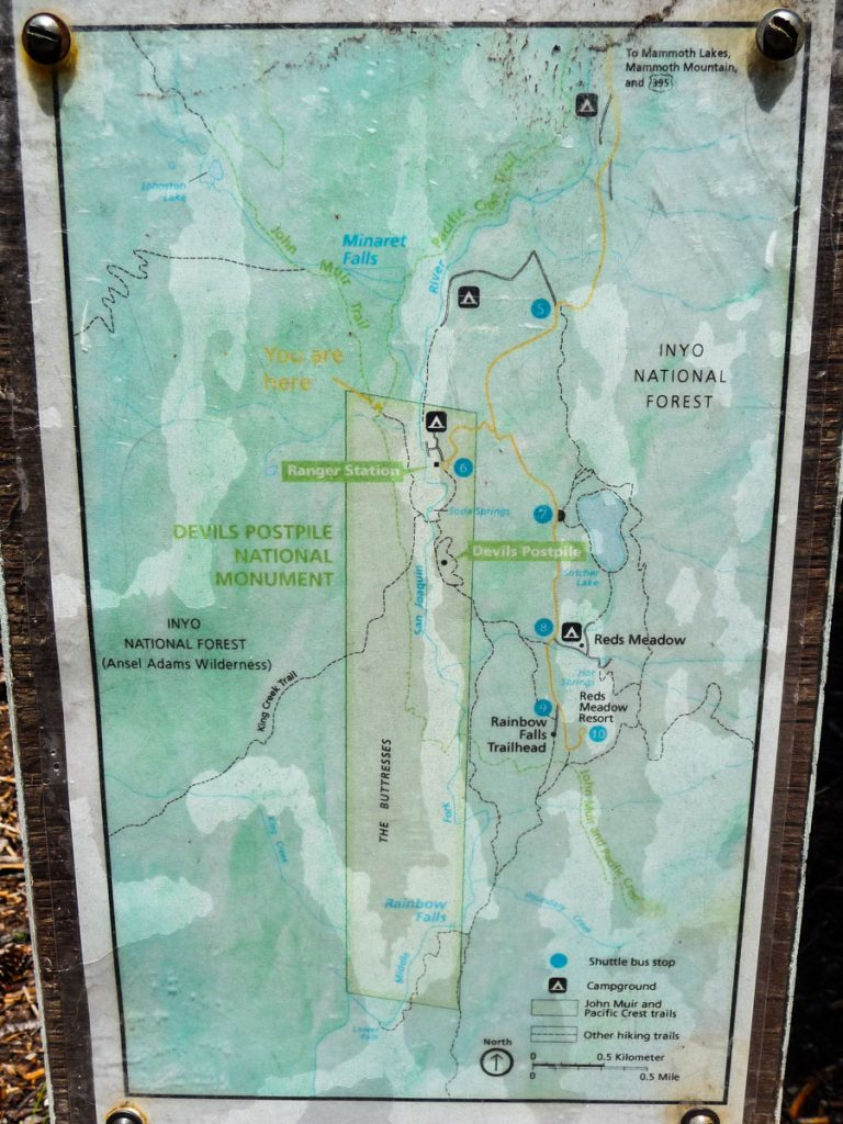 Map of Devil's Postpile National Monument