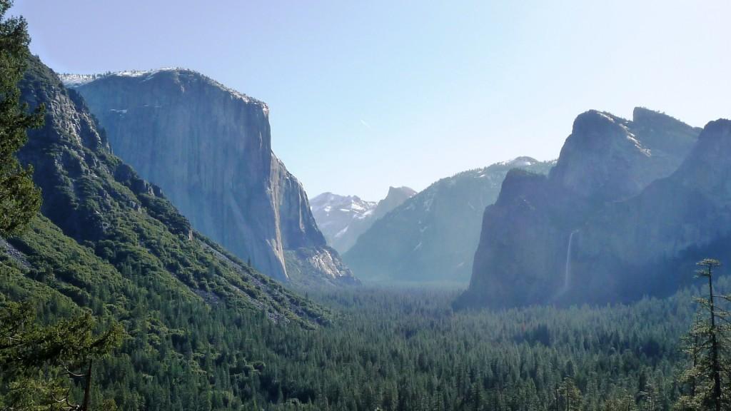 El Capitan, Half Dome, and Bridalveil Falls