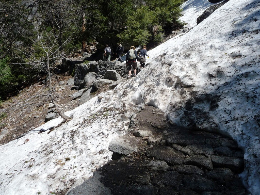 Parts of the trail were covered in snow