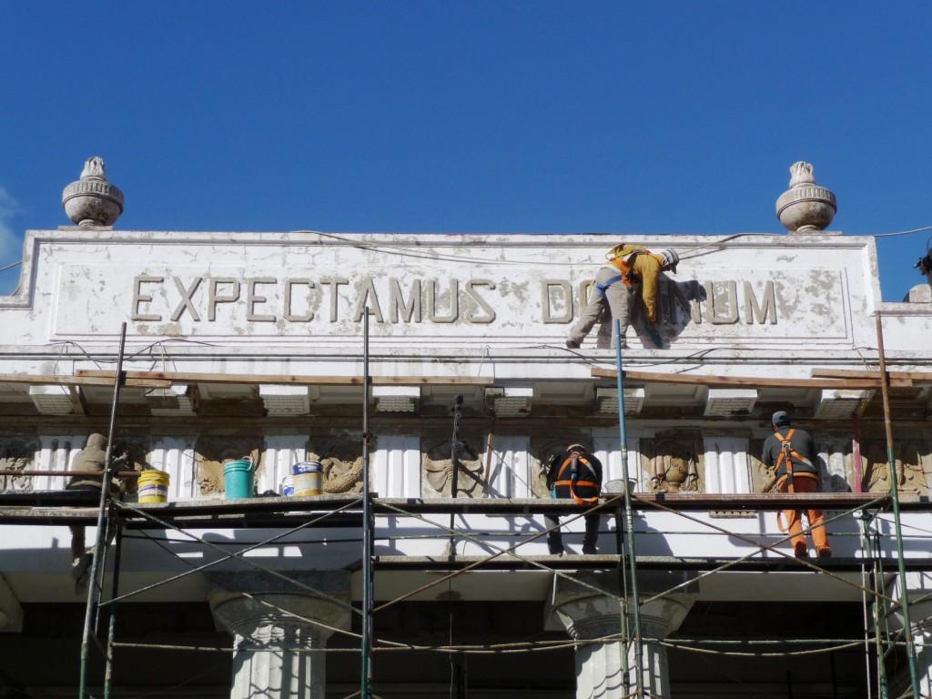 Restoration work at front entrance