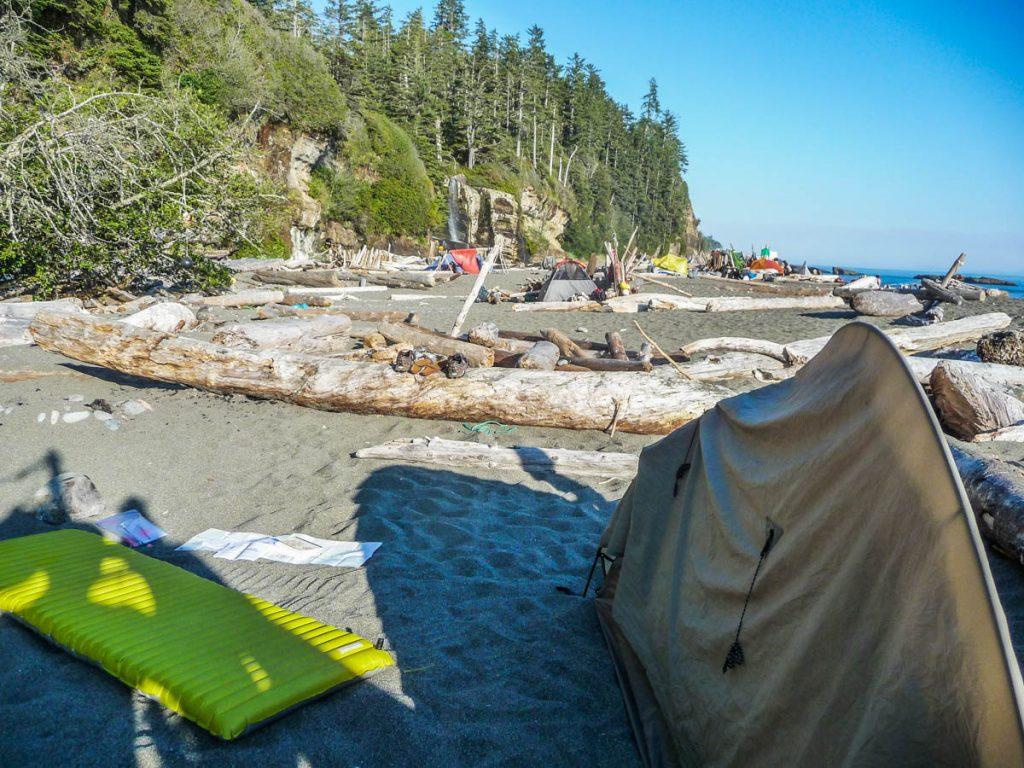 Tsusiat Falls campsite, West Coast Trail