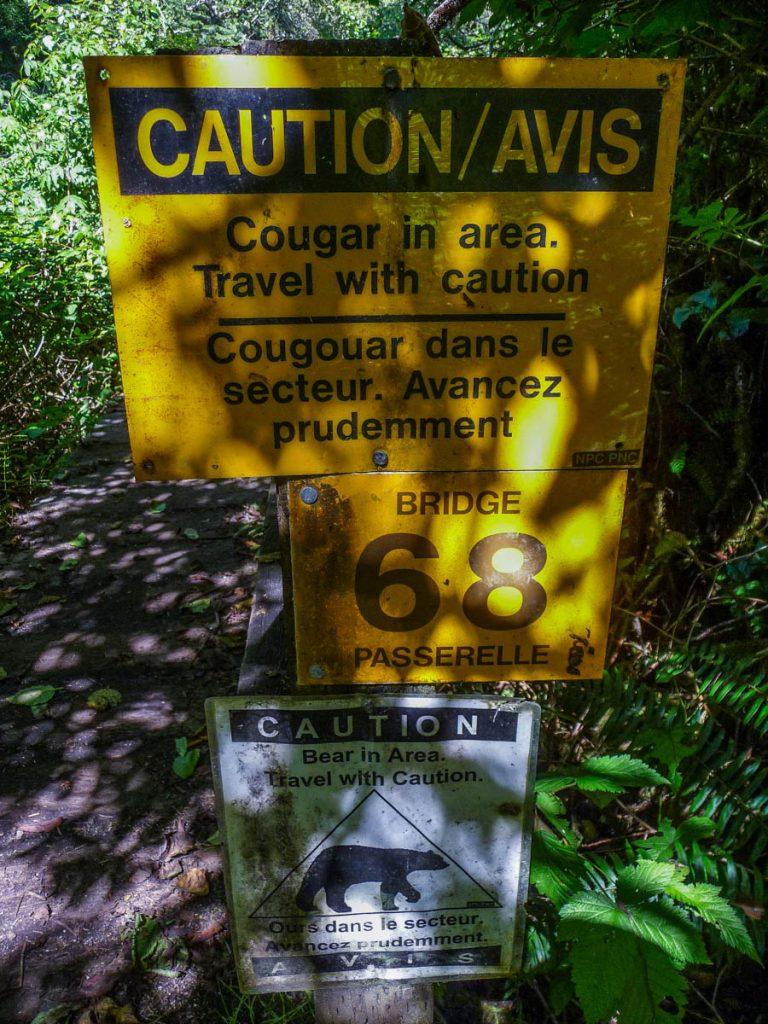 Bear and cougar warning, West Coast Trail