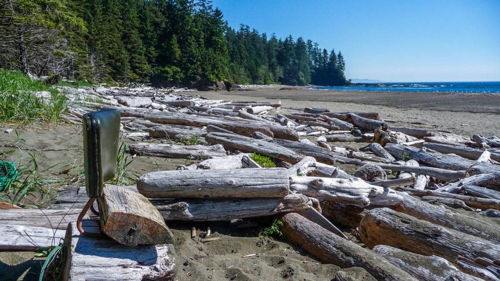 Makeshift chair by the beach, West Coast Trail