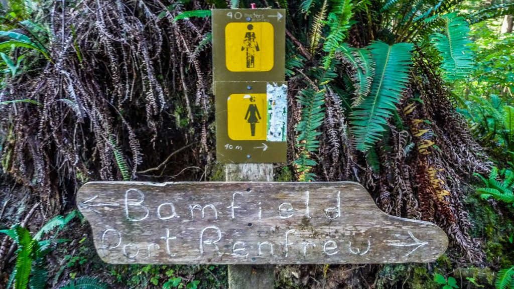 Restroom sign, West Coast Trail