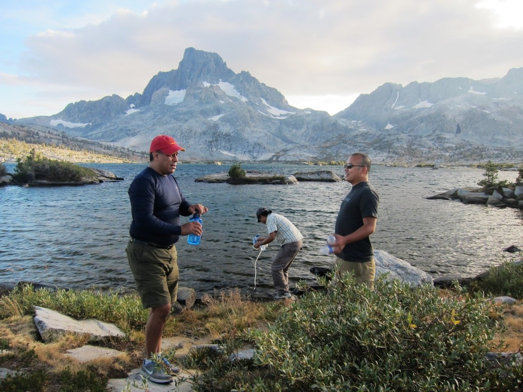 Raul, David and Dan filtering water at Thousand Island Lake