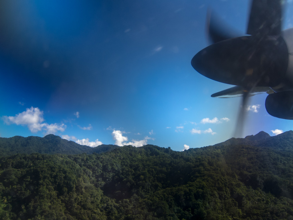 Flying over Dominica