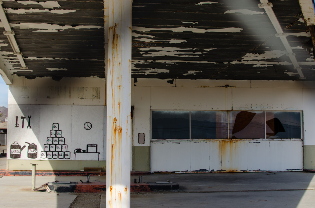 Abandoned gas station in Trona