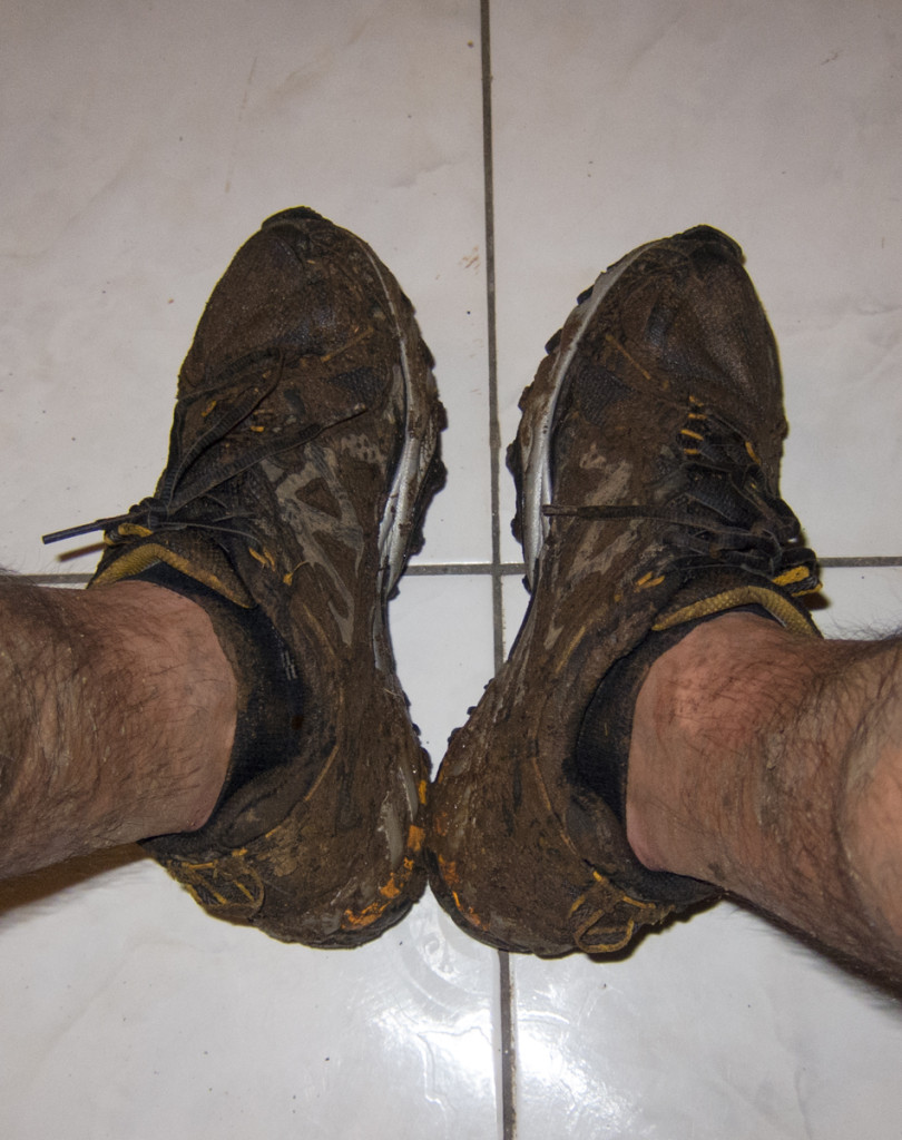 Muddy shoes after Segment 4 of the Waitukubuli National Trail