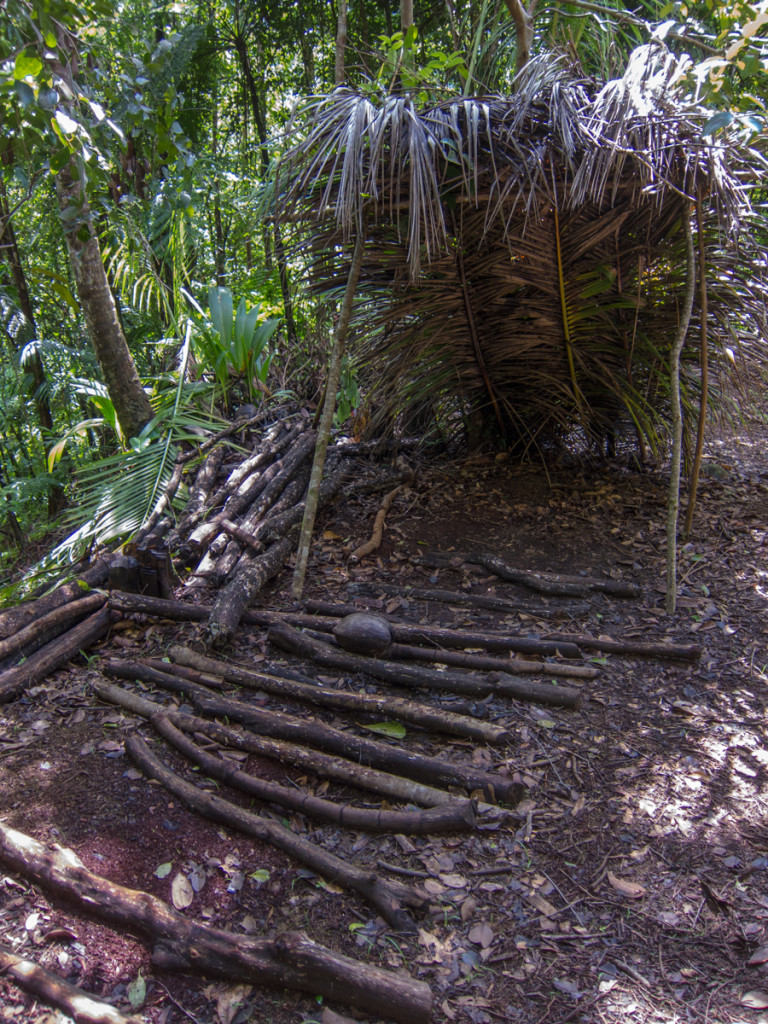 Someone made this makeshift shelter, Waitukubuli National Trail