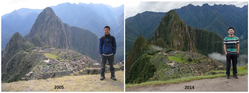 Machu Picchu. Same spot, 9 years later.