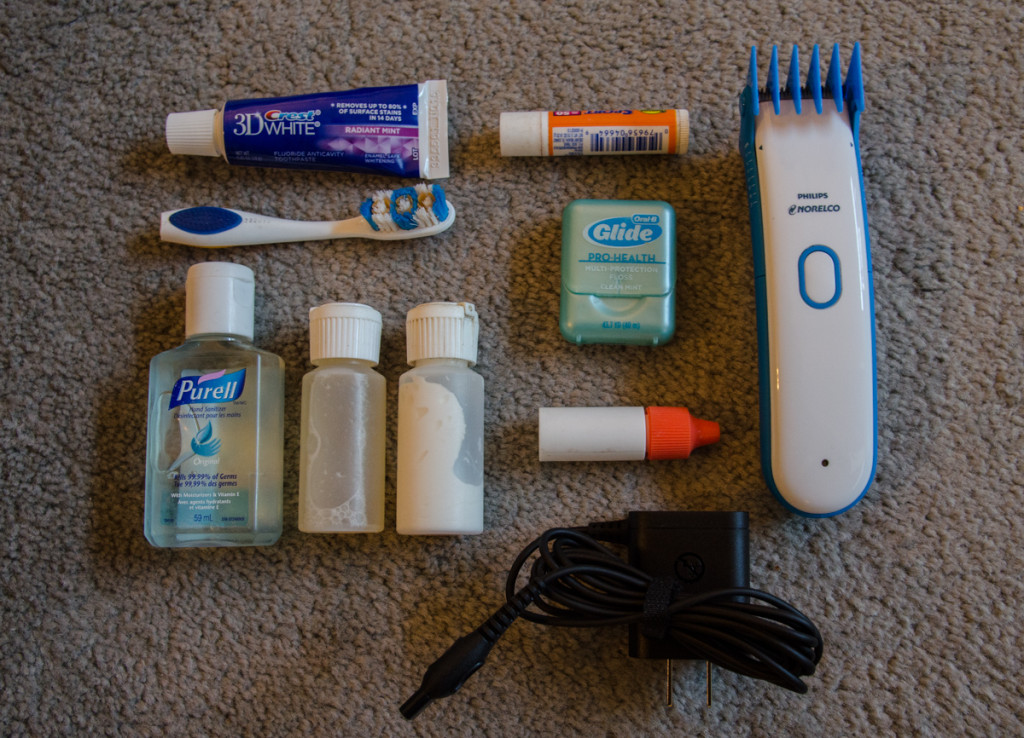 Toiletries for hiking