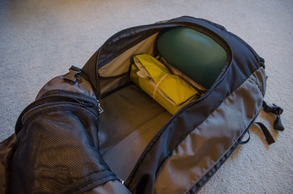 Camping gear inside backpack