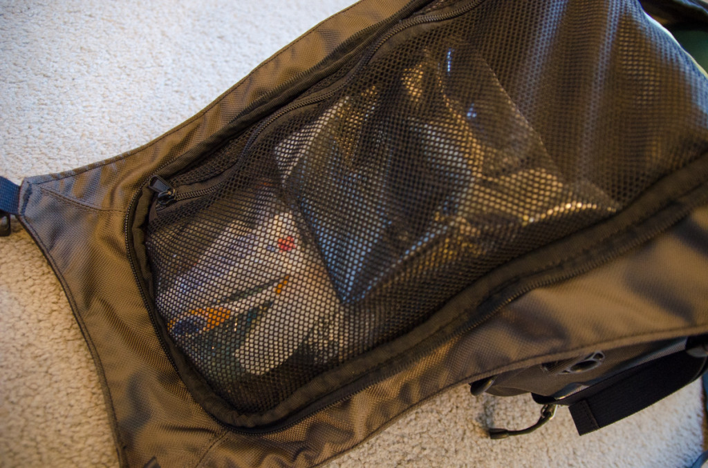 Toiletries and other smaller items in backpack