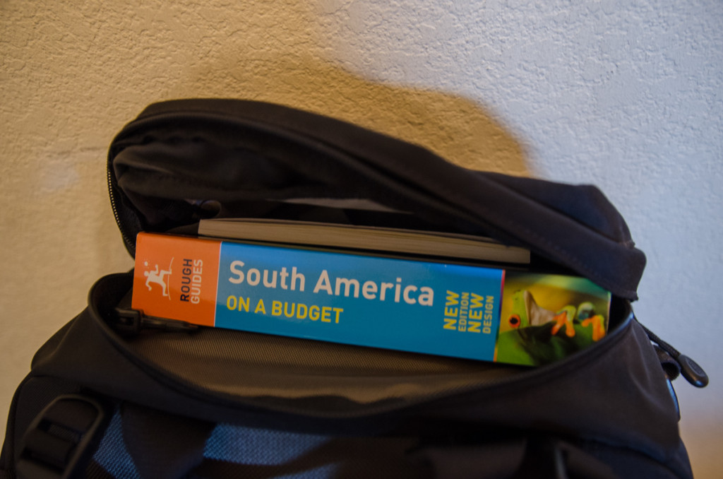 Guidebook and notebook in top pocket