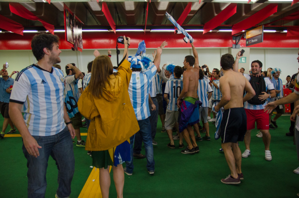 Argentina fans at the Maracana Metro Station