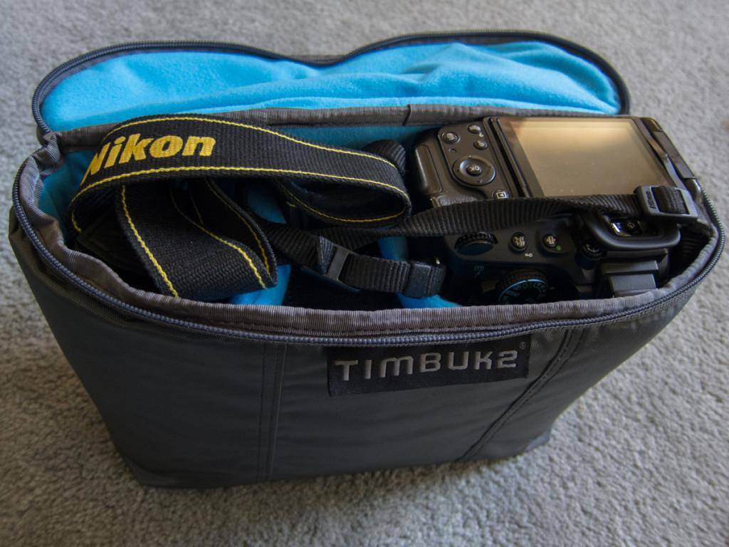 Camera and 3 lenses inside Timbuk2 Snoop Insert