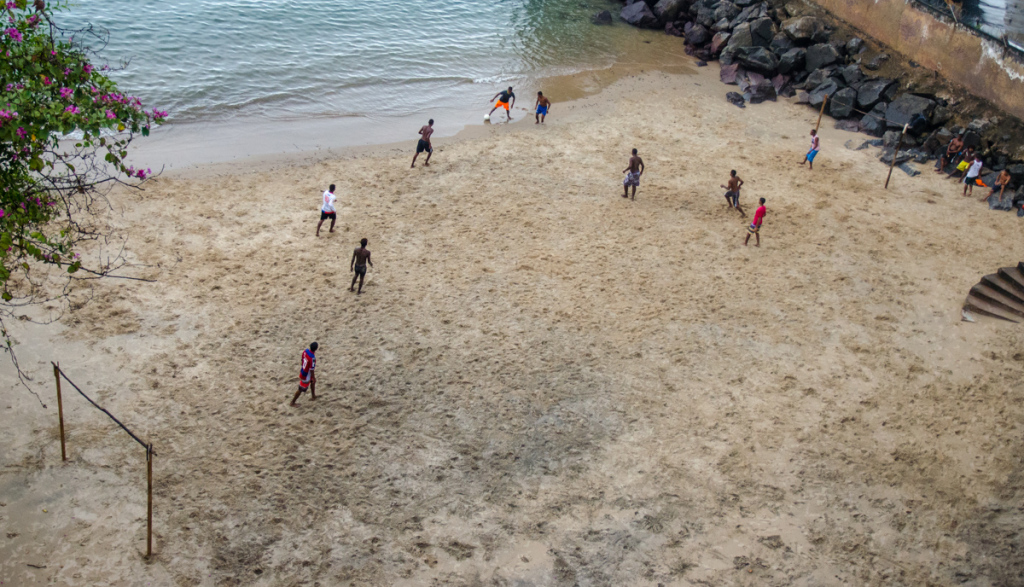 Beach football in Salvador, Brazil