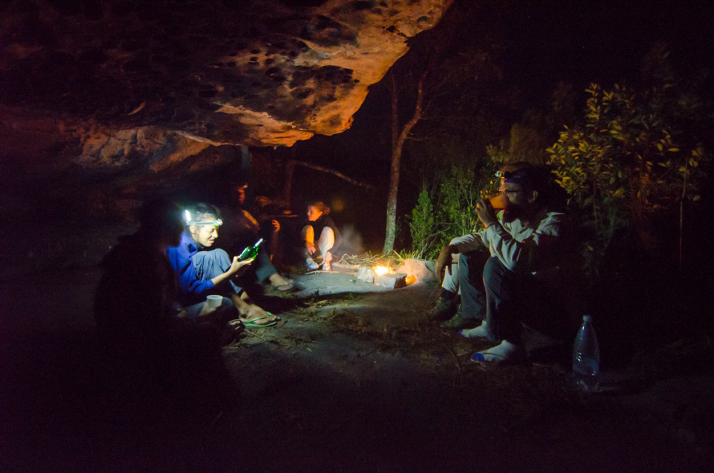 Camping under a rock at Chapada Diamantina