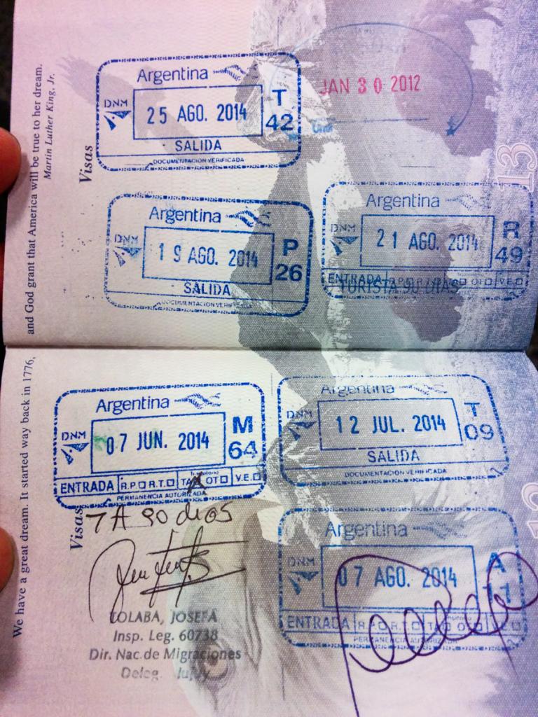 Argentina stamps in passport