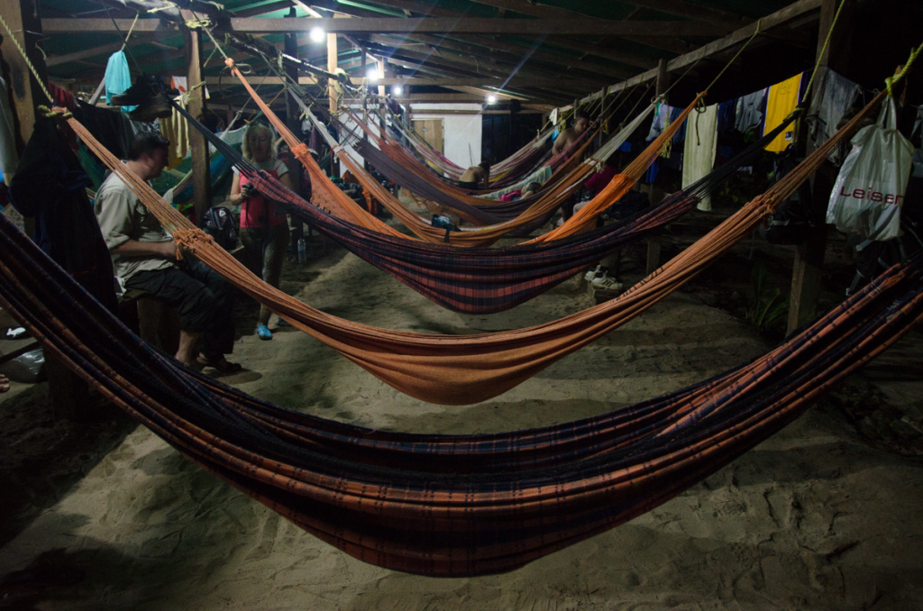 Sleeping in hammocks at camp close to Angel Falls