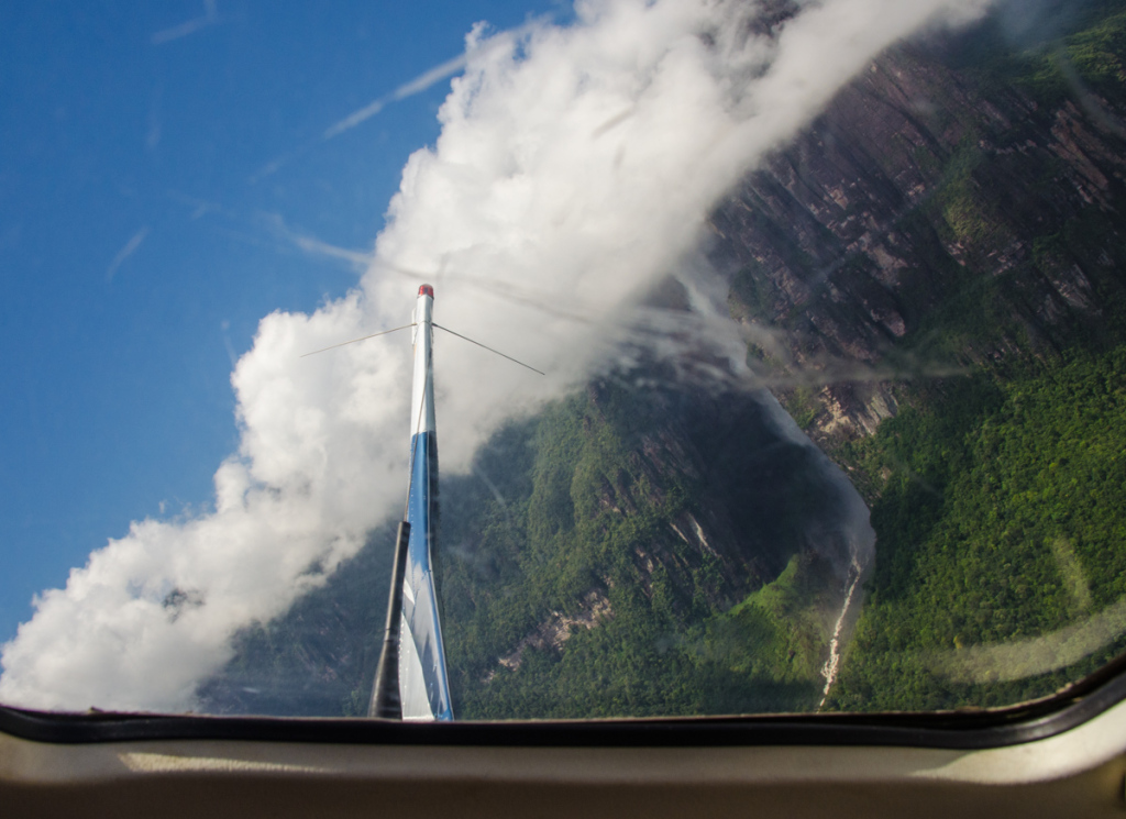 View of Angel Falls from airplane
