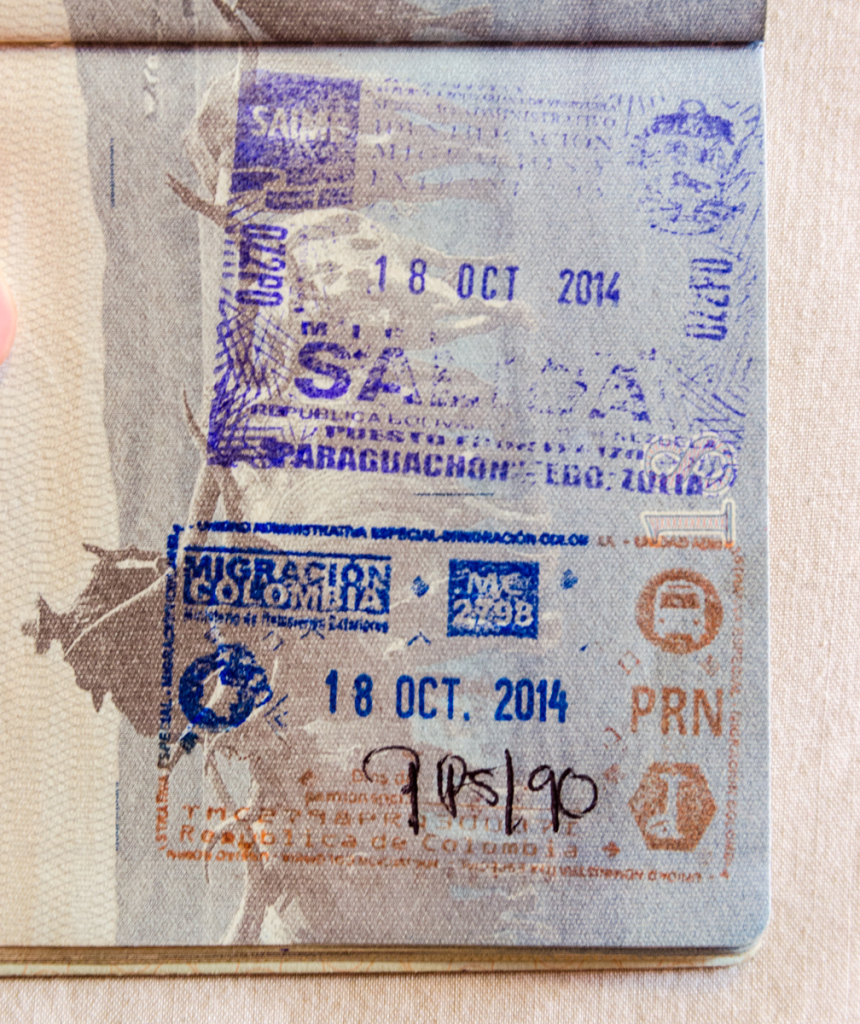 Venezuelan and Colombian passport stamps