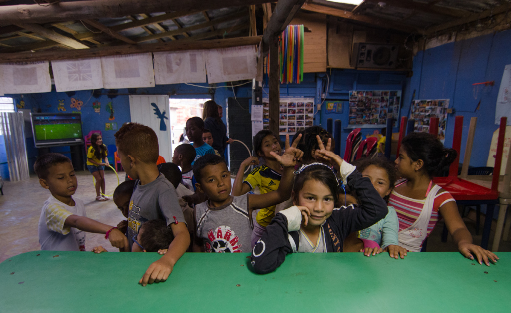 Kids waiting for candy, Angeles de Medellin Foundation