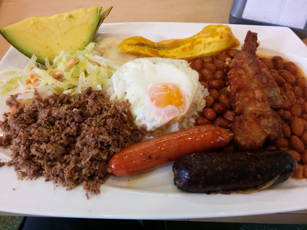 Bandeja Paisa, a typical Colombian dish