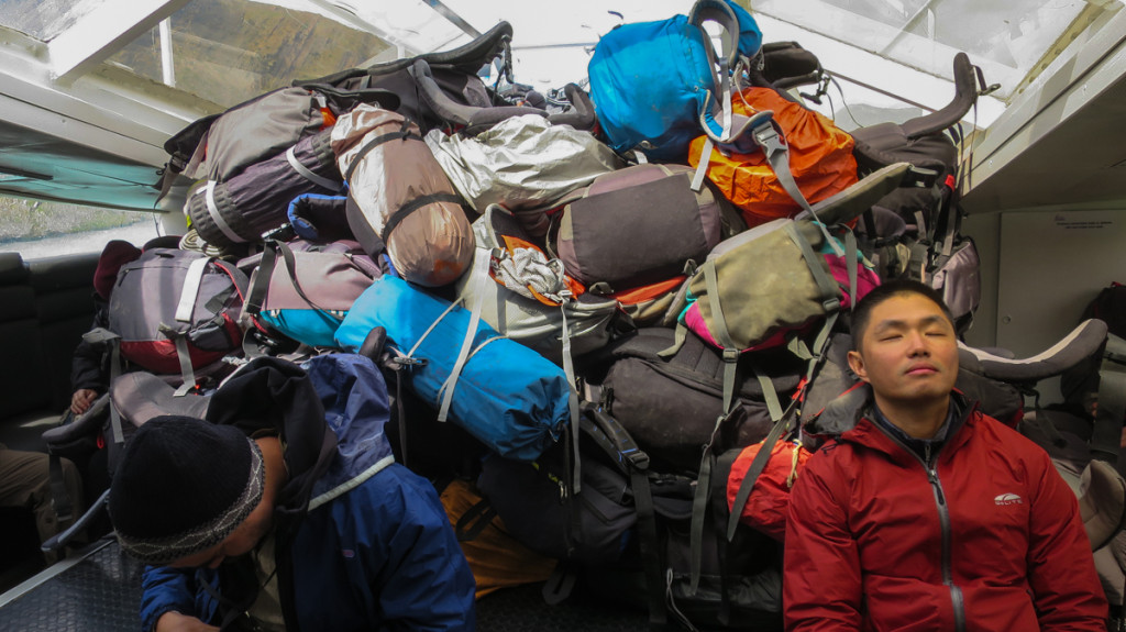 A mountain of backpacks on the ferry to Refugio Paine Grande. (Photo Credit: John Van)