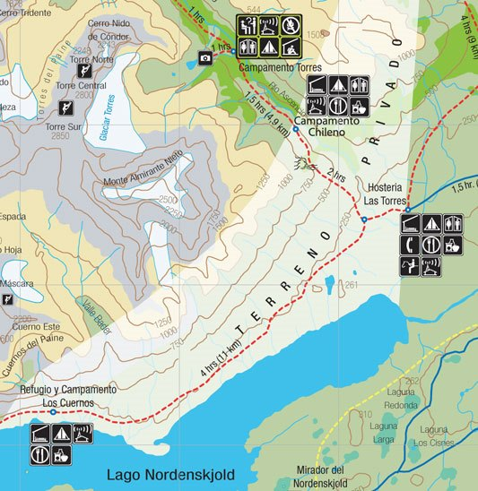 Torres del Paine W-Circuit Day 4 map