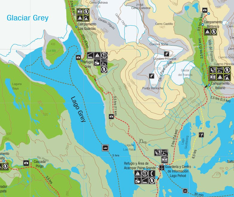 Torres del Paine W-Circuit Day 2 map