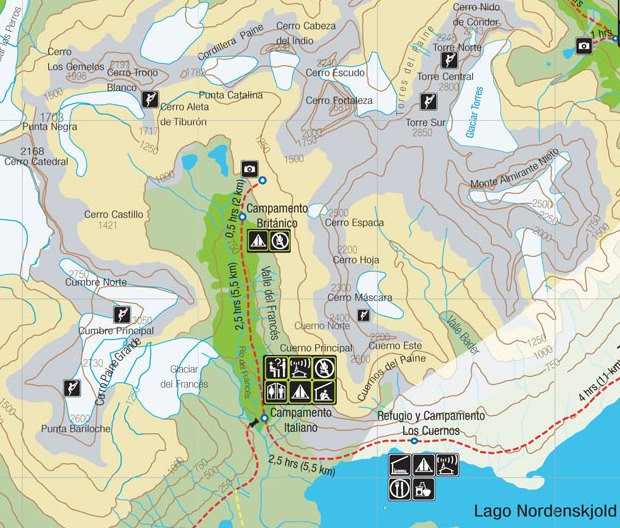 Torres del Paine W-Circuit Day 3 map