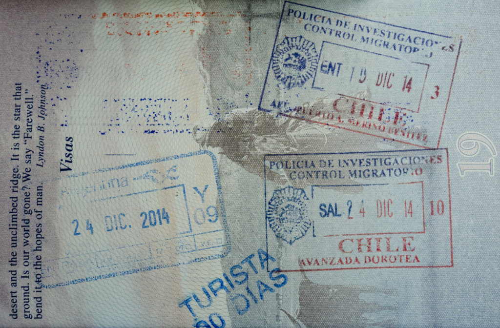 Passport stamps from Chile and Argentina