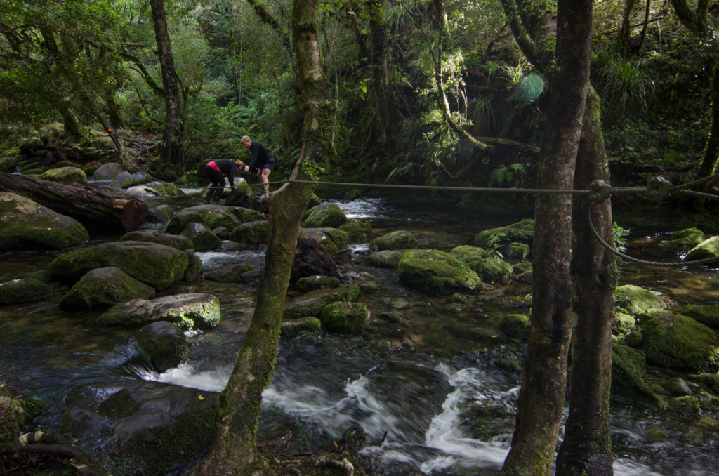Crossing a river to Korakora Falls, Lake Waikaremoana Great Walk