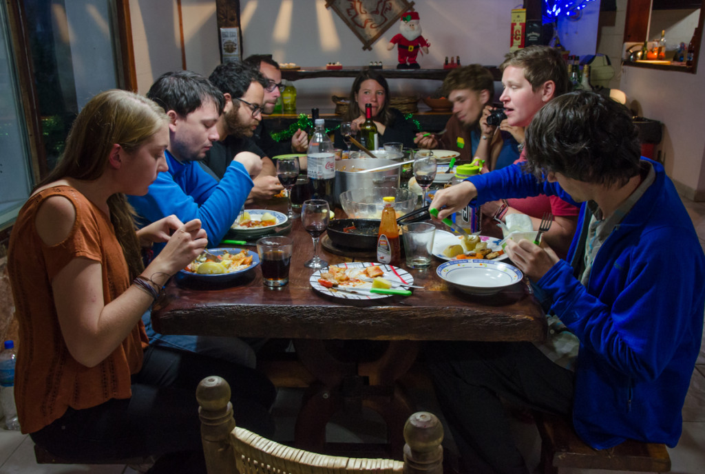 New Years Eve dinner at Aylen Aike Hostel