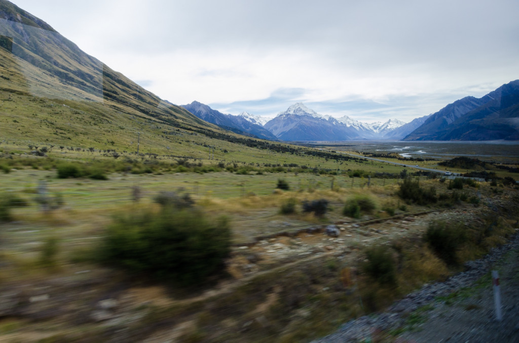 Bus to Mount Cook, New Zealand
