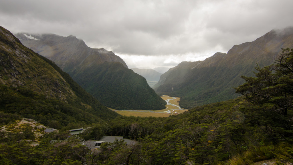 Looking back at Routeburn Falls Hut