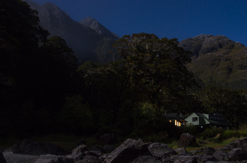 Long exposure photo of Lake Mackenzie Hut, Routeburn Track