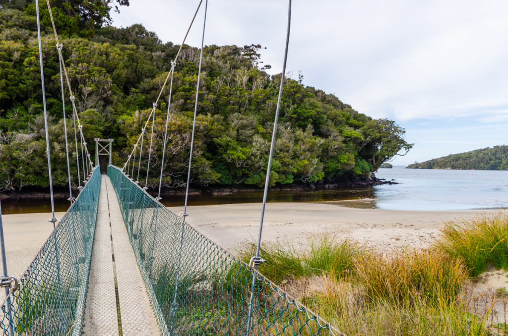 Suspension bridge by Maori Beach, Rakiura Track