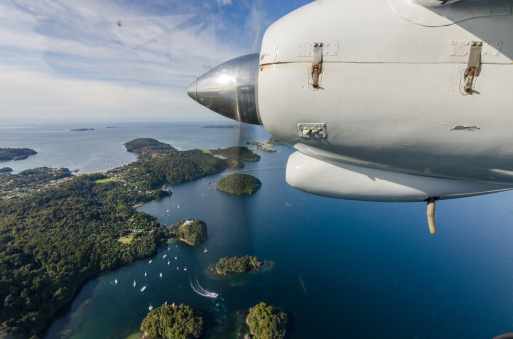 Flying over Oban, Stewart Island, New Zealand