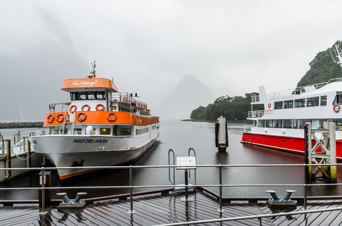 Cruise ships at Milford Sound