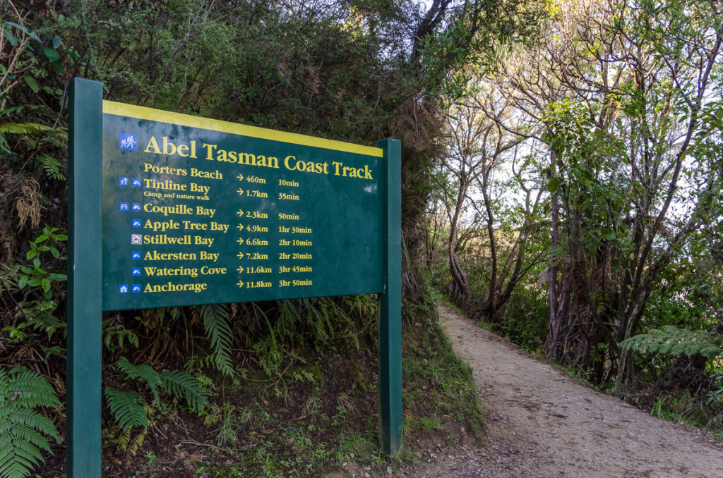 The southern trailhead of the Abel Tasman Coast Track