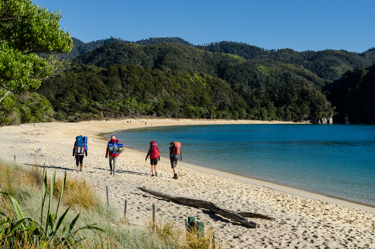Leaving Anchorage Hut, Abel Tasman Coast Track
