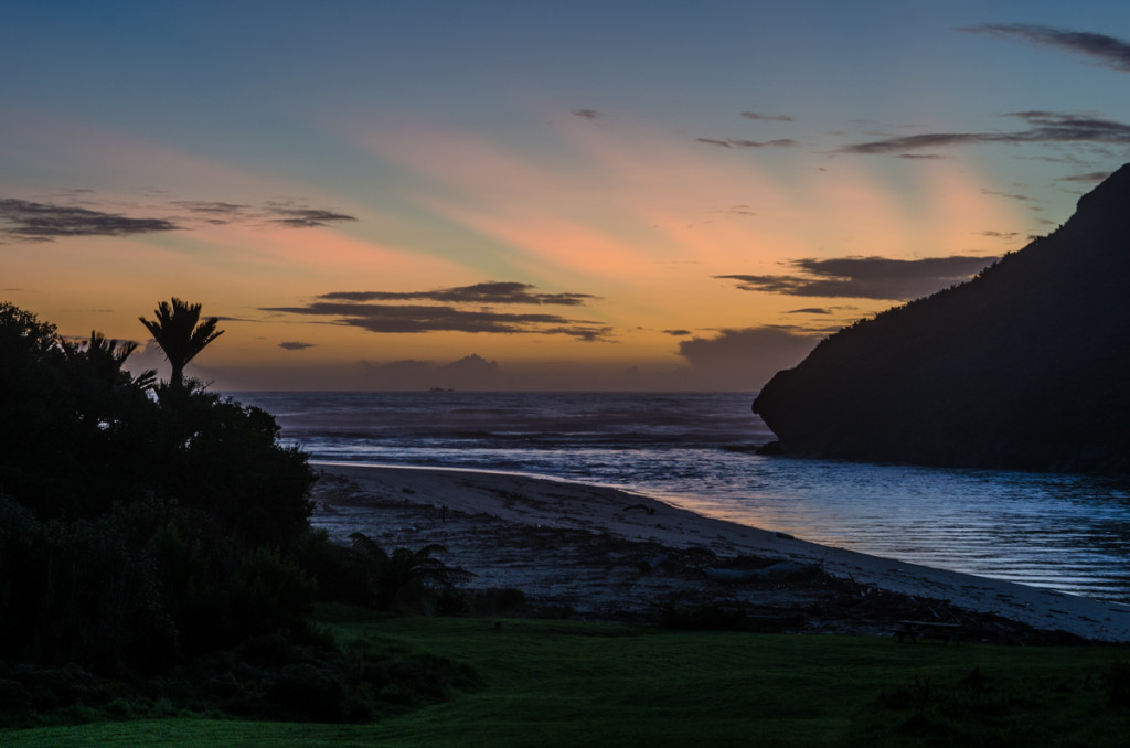 Sunset over Heaphy River mouth, Heaphy Track