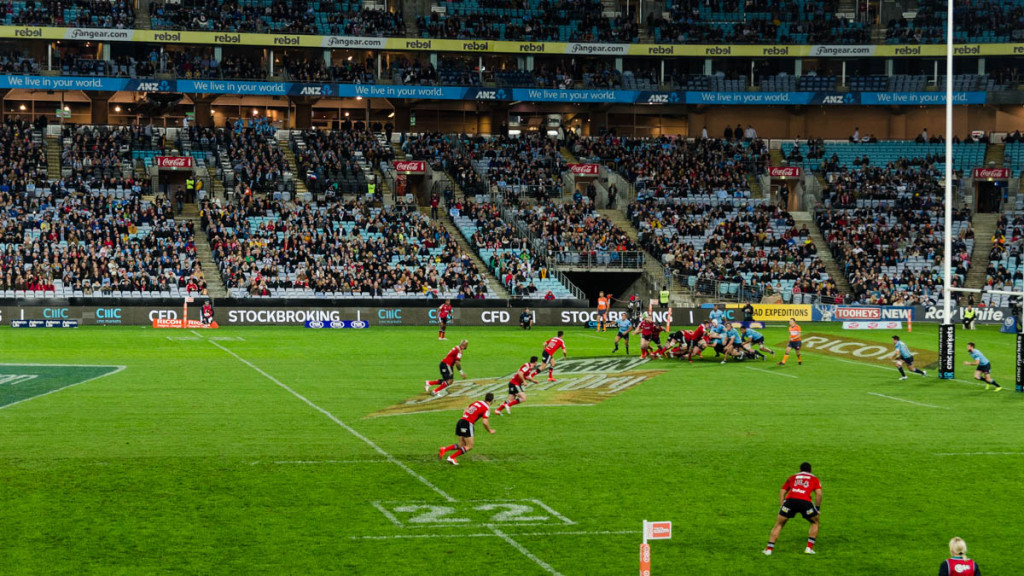 Waratahs vs Crusaders match at Stadium Australia