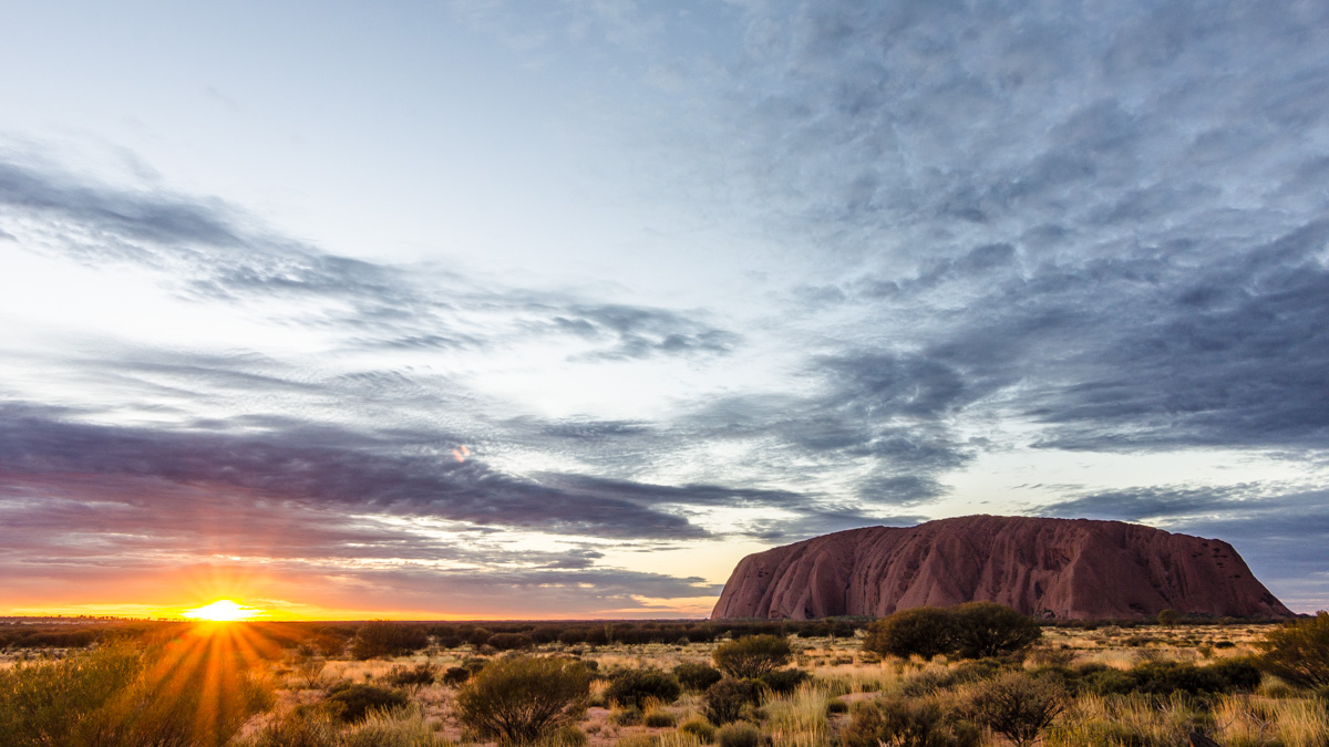 Uluru during sunrise
