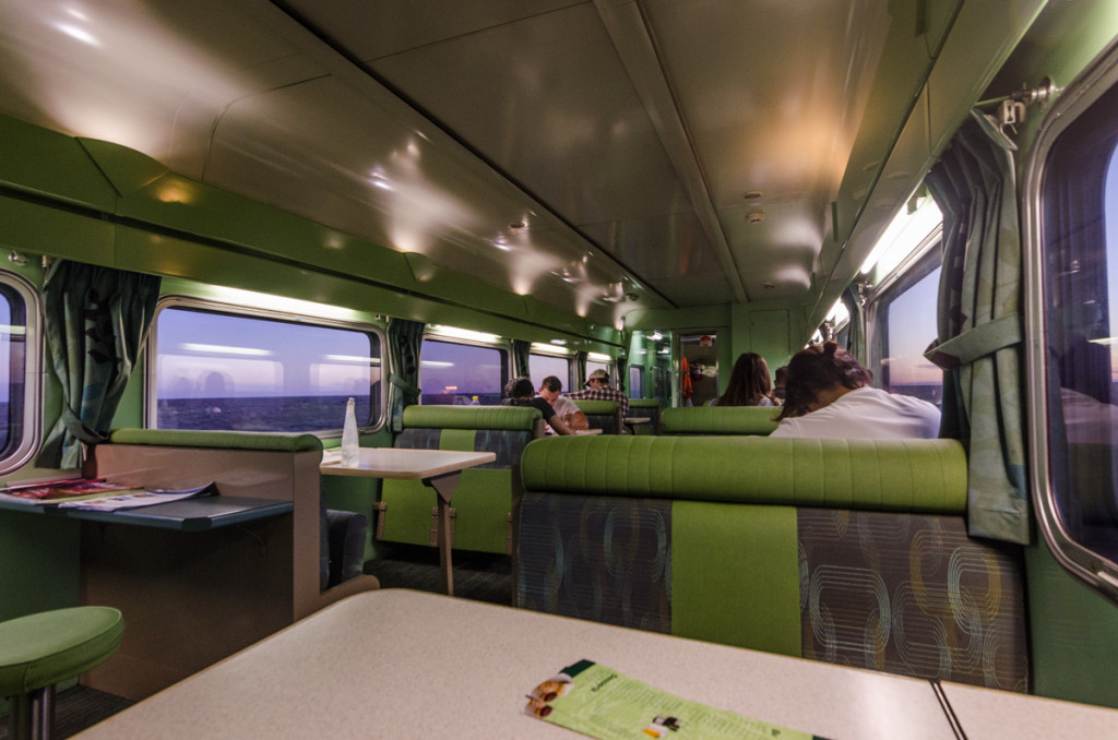 Dining car on the Indian Pacific trainDining car on the Indian Pacific train
